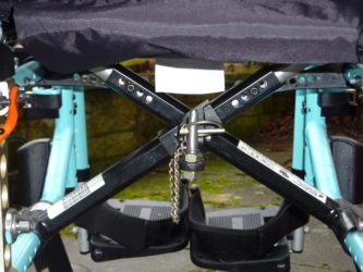 View of wheelchair trolley connecting pin