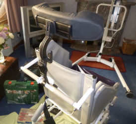 View of finished shower chair with head rest